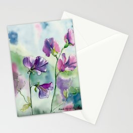 Sweet Pea Watercolour Painting Stationery Cards