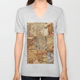 Old maps Unisex V-Neck