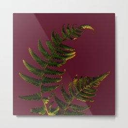 Fern on burgundy Metal Print