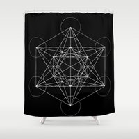 sacred geometry Shower Curtains featuring Sacred Geometry Print 4 by poindexterity