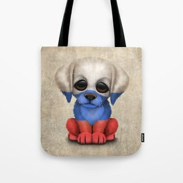 Cute Puppy Dog with flag of Russia Tote Bag