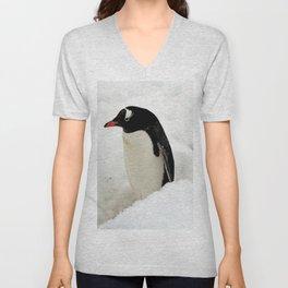 Gentoo Penguin in the Snow Unisex V-Neck
