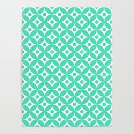 Menthol green and white elegant tile ornament pattern Poster