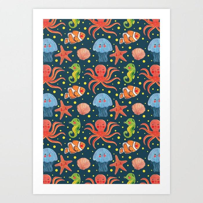 Happy Sea Animal  Art Print