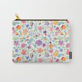 Colorful Whimsical Watercolor Flowers Pattern Carry-All Pouch