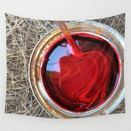 Red Paint Can on Straw Wall Tapestry