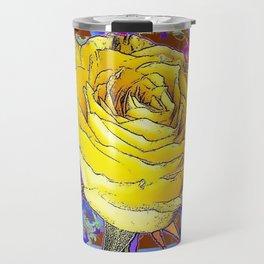 GRAPHIC YELLOW ROSE BLUE FLOWERS BROWN ART Travel Mug