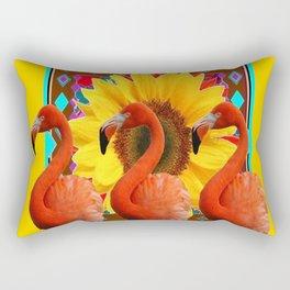 YELLOW BROWN SUNFLOWERS ART DECO 3 SAFFRON FLAMINGOS ART Rectangular Pillow