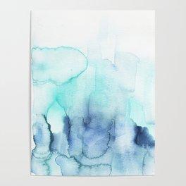 Wanderlust Teal Blue Watercolor Poster