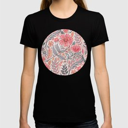 Melon Pink and Grey Art Nouveau Floral T-shirt