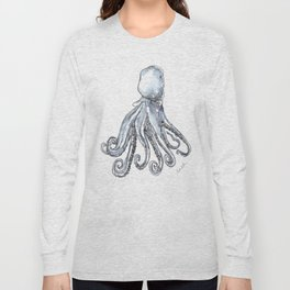 Octopus Watercolor Sketch Long Sleeve T-shirt