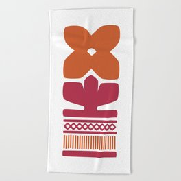 Nordic Orange Flower Beach Towel
