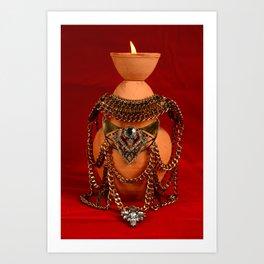 Jeweled pottery vase Art Print