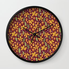 Autumn Forest Leafs and Mushrooms - Red Wall Clock