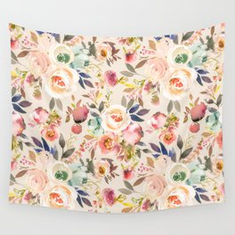 Hand painted ivory pink brown watercolor country floral Wall Tapestry