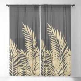 Palm Leaves Golden On Black Sheer Curtain