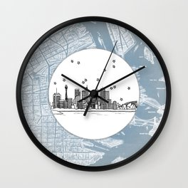 Sydney, New South Wales, Australia City Skyline Illustration Drawing Wall Clock