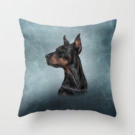 Drawing Doberman dog  6 Throw Pillow