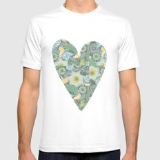 Green Patterned Heart MEDIUM White Mens Fitted Tee