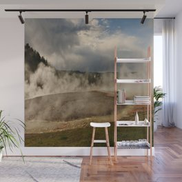 A Cloud Of Steam And Water Over A Geyser Wall Mural