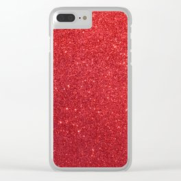 Ruby Red July Leo Birthstone Shimmering Glitter Clear iPhone Case