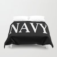 navy Duvet Covers featuring NAVY by shannon's art space