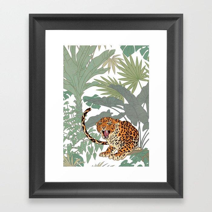 Leopards in the jungle pattern. Gerahmter Kunstdruck
