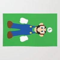 luigi Area & Throw Rugs featuring Luigi - Minimalist - Nintendo by Adrian Mentus