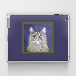CUTE YOUNG TABBY CAT GREY BEIGE CHALK PASTEL DRAWING Laptop & iPad Skin