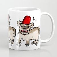 fez Mugs featuring Badger with a Fez by Cat Graff