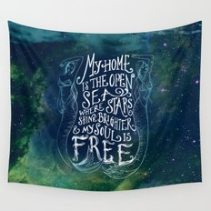 My Home is the Open Sea (Dark Night) Wall Tapestry