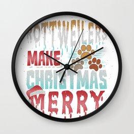 Christmas Dog Rottweilers Make Christmas Merry Wall Clock