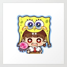 Chibi Spongebob Cosplay Art Print
