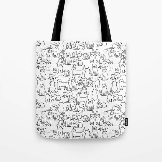 Funny sketchy white kitty cats Tote Bag