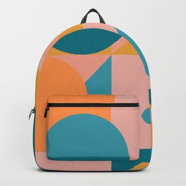 Colorful Geometric Abstraction in Blue and Orange Backpack