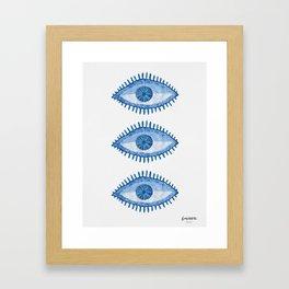 Embroidered evil Eyes Framed Art Print