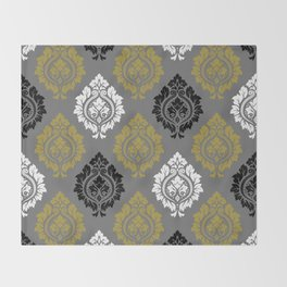 Decorative Damask Pattern BW Gray Gold Throw Blanket