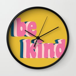 Be Kind Inspirational Anti-Bullying Typography Wall Clock