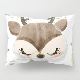Against Virus - Hand Drawn Watercolor Deer With Mask Pillow Sham