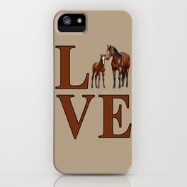 Love Horses Bay Mare and Cute Foal iPhone Case