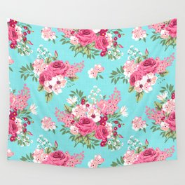Cottage Chic Pink and Red Roses on Turquoise Linen Wall Tapestry