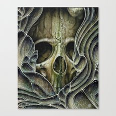 green bubble skull Canvas Print