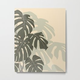 Monstera leaves (Green and Sand) Metal Print