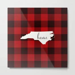 North Carolina is Home - Buffalo Check Plaid Metal Print