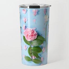 Flower Flatlay on Blue Travel Mug