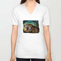 jaguar V-neck T-shirts featuring Jaguar by Adamzworld