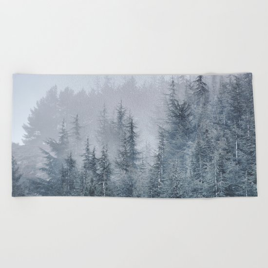 Early moorning... Into the foggy woods Beach Towel