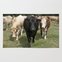 cows Area & Throw Rugs featuring Cows by Rachel's Pet Portraits