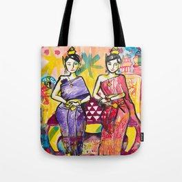 Ladies portrait in Thai dress Tote Bag