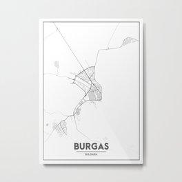 Minimal City Maps - Map Of Burgas, Bulgaria. Metal Print
